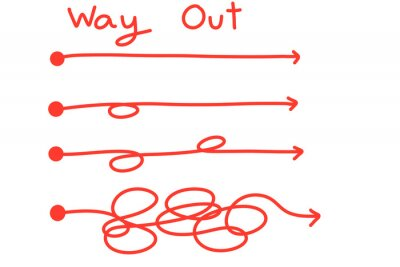 """Hand writing. Red messy line and word """"Way Out"""" on white background. Easy and difficult to find out. Idea. Conception about business or life."""