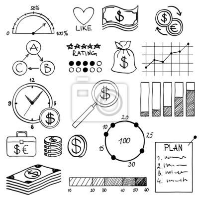 Hand Zeichnen Doodle Elemente Geld Und Münze Symbol Chart Graph