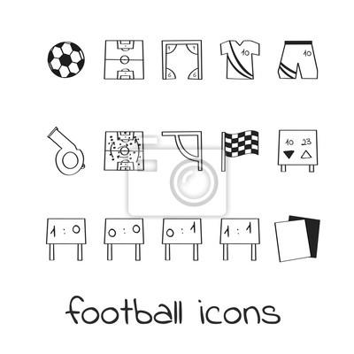 Hand Zeichnen Ikonen Fussball Sammlung Von Linearen Zeichen