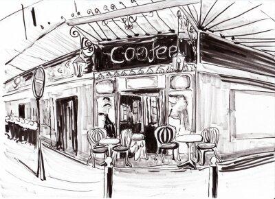 Fototapete Hand zeichnen paris Café