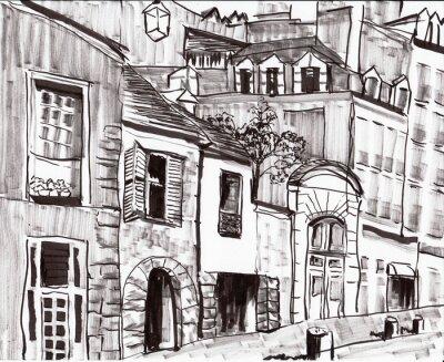 Fototapete Hand zeichnen paris Gebäude