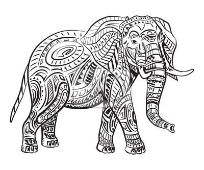 Handbemalte Elefanten Mit Ornament Tätowierung Elefant Mit Mustern