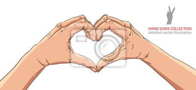 Hande In Herzform Detaillierte Vektor Illustration Fototapete