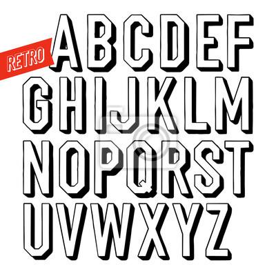 Handgemachte Retro Schriftart. Schwarze Buchstaben auf weißem Hintergrund. Sans Serif Typ. Dekorative Vektor Alphabet