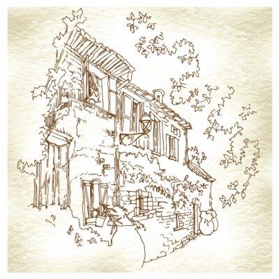 Fototapete Handgemachte Skizze der alten Straße.