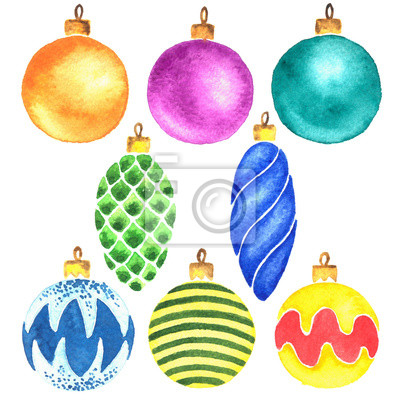 Handgemalte Aquarell Weihnachtsbaum Kugeln Clipart Fototapete
