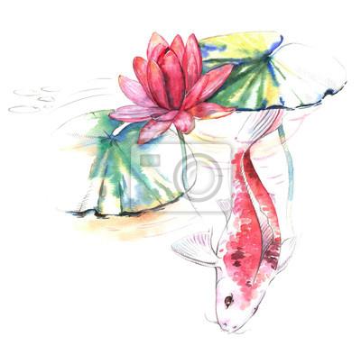 Handgezeichnet aquarell illustration der koi karpfen fisch im ...