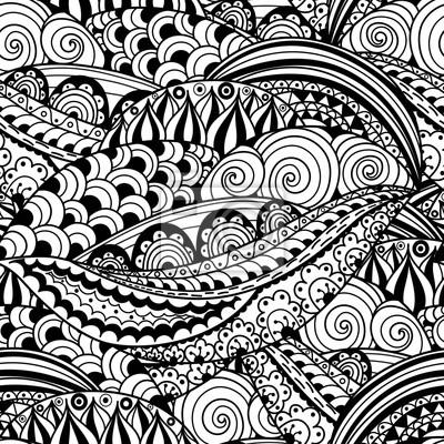 Handgezeichnet schwarz und weiß nahtlose Muster mit abstrakten Wellen, Kreise und Blumen. Doodles Vektor Textur ideal für Verpackung, Druck-und Gewebe-Papier und für Erwachsene Malvorlage Seite