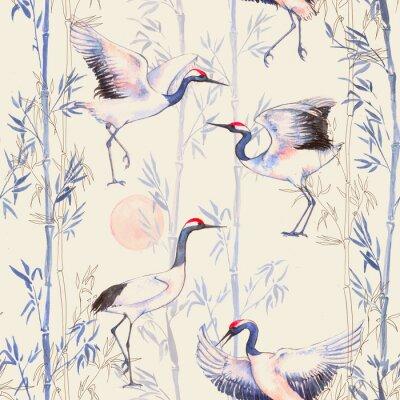 Fototapete Handgezeichnete Aquarell nahtlose Muster mit weißen japanischen Tanzkräne. Wiederholte Hintergrund mit zarten Vögeln und Bambus