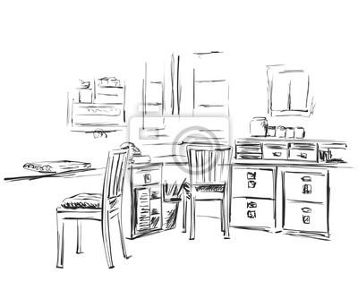 Handgezeichnete Arbeitsplatz Stuhl Und Tischskizze