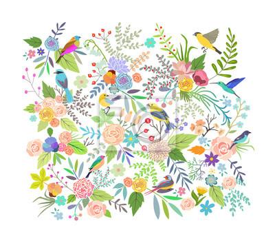 Handgezeichnete Vintage Blumenelemente. Set von Blumen. Vektor