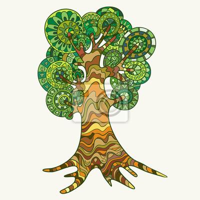 Handgezeichneten Baum Und Gemalt Im Stil Der Zentangl Fototapete