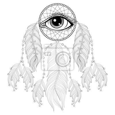 Handgezeichneten Zentangle Böhmischen Traumfänger Mit Auge Native
