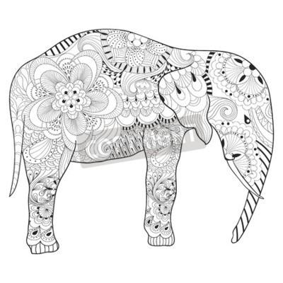 Handgezeichneter elefant mit mandala für erwachsene antistress ...