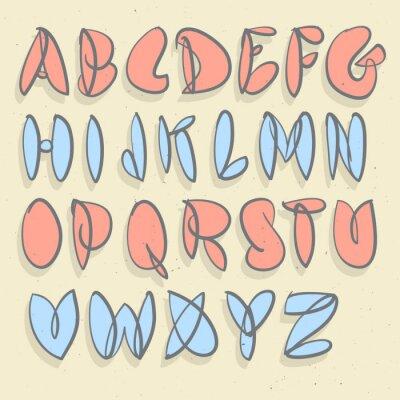 Fototapete Handgezeichnetes Alphabet. Hand Gebürstet Unforced Bubble Alphabet.