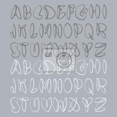 Handgezeichnetes Alphabet. Hand Gebürstet Unforced Bubble Alphabet.