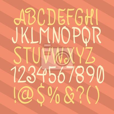 Handgezeichnetes Alphabet. Handgezeichnetes Skript. Hand gezeichnet ABC.