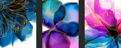 Fototapete Handmade abstract art background with watercolor, inks stain, spots elements with purple, green and blue color. Elegant gold veins wallpaper.