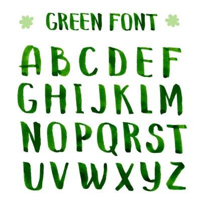 Fototapete Handmade ink green alphabet.