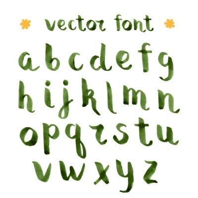 Handmade ink green alphabet.