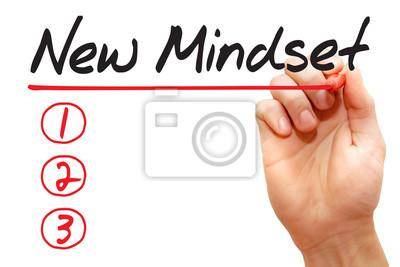 Handschreiben New Mindset Liste mit roter Markierung