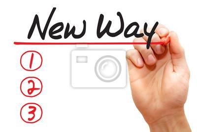 Handschreiben New Way Liste mit roten Marker, Business-Konzept
