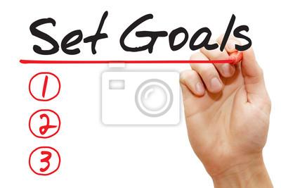 Handschreiben Ziele setzen Liste mit roten Marker, Business-Konzept