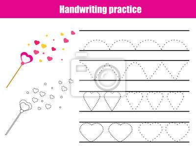 Handschrift praxisblatt. educational kinder spiel, druckbare ...