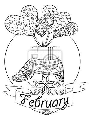 Handschuh und Herzen Vektor-Illustration für Kalender