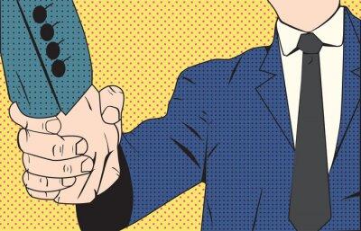Fototapete Handshake Geschäftsmann Retro-Stil Pop-Art