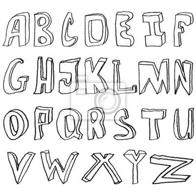 Handzeichnung Alphabet Vektor-Illustration