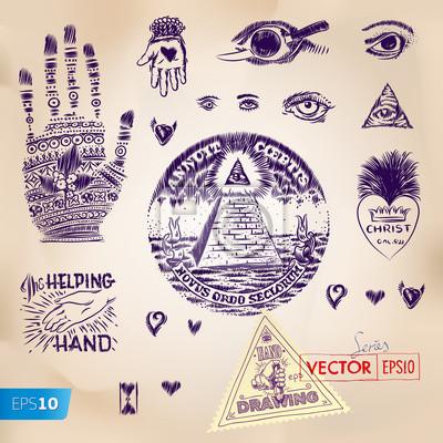 Handzeichnung Symbole, Pyramidenstumpf, vector eps10 Bild