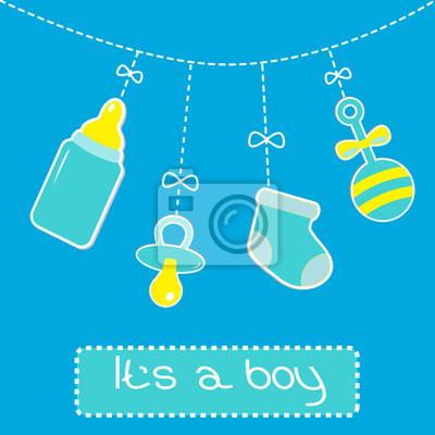Hängen Flasche, Schnuller, Rassel und Socke. Baby-Dusche-Karte