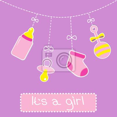Hängen Flasche, Schnuller, Rassel und Socke. Baby girl shower Auto