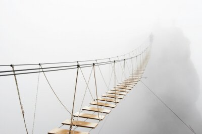 Fototapete Hanging bridge in fog