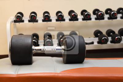 Hantel Auf Sofa Boden Im Fitnessraum Platziert Fototapete