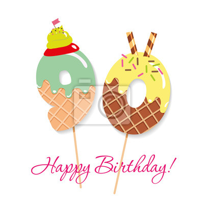Fototapete Happy Birthday Card Festive Sweet Numbers 90 Coctail Straws Funny Decorative Characters