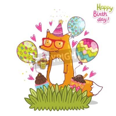 Fototapete Happy Birthday Card Hintergrund Mit Niedlichen Cartoon Hipster Fuchs Feiertags Partyschablone Gruss