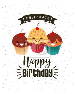 Fototapete Happy Birthday Card Mit Cupcakes Icon Uber Weissem Hintergrund Buntes Design Vektor