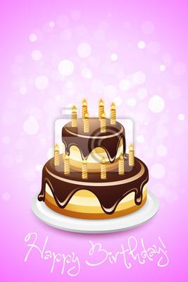 Happy Birthday Card Mit Kuchen Fototapete Fototapeten Susse Speisen