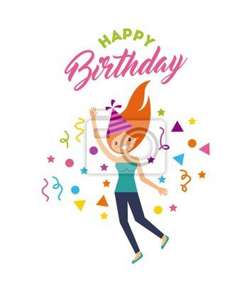 Fototapete Happy Birthday Card Mit Madchen Tragen Eine Party Hut Uber Weissem Hintergrund Buntes Design