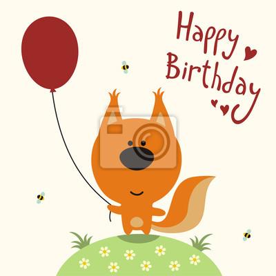 Fototapete Happy Birthday Card Vector Funny Eichhornchen Mit Ballon Handgeschriebenen Text