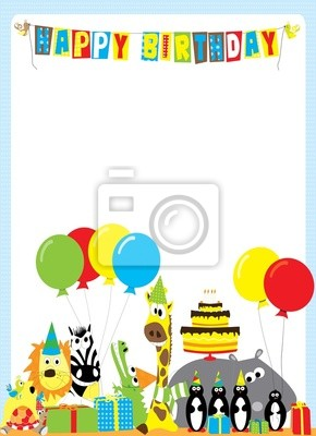 Fototapete Happy Birthday Card With Cartoon Animals