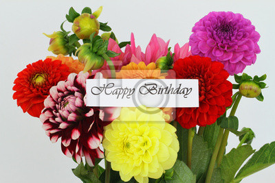 Fototapete Happy Birthday Card With Colorful Dahlia Flowers