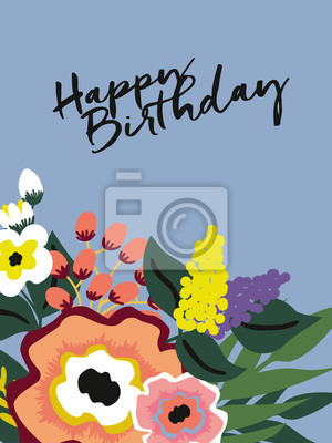 Fototapete Happy Birthday Card With Flowers Vector Design