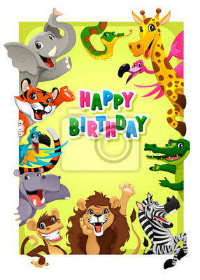 Fototapete Happy Birthday Card With Jungle Animals