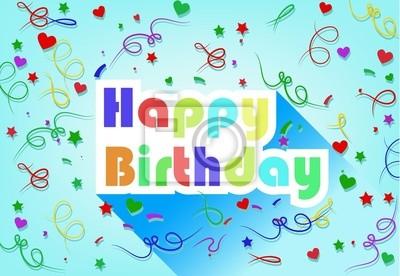 Happy Birthday Card Wohnung Design Mit Band Und Herz Fototapete