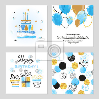 Fototapete Happy Birthday Cards Set In Blue And Golden Colors Celebration Vector Illustrations With