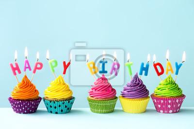 Fototapete Happy Birthday Cupcakes
