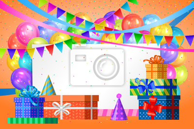 Fototapete Happy Birthday Design Realistic Colorful Helium Balloons Gift Boxes Flags Garlands And